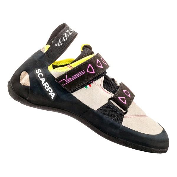 Scarpa Velocity Grau, Damen Kletterschuh, Größe EU 42 - Farbe Lightgray-Yellow Damen Kletterschuh, Lightgray - Yellow, Größe 42 - Grau